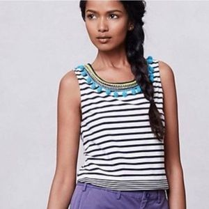 Anthropologie   One September Colorpom Striped Top